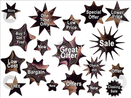 Retro 50s Style Brown Special Offer Tags and Star Stickers stock photo, Retro 50s Style Brown Special Offer Tags and Star Stickers by Robert Davies