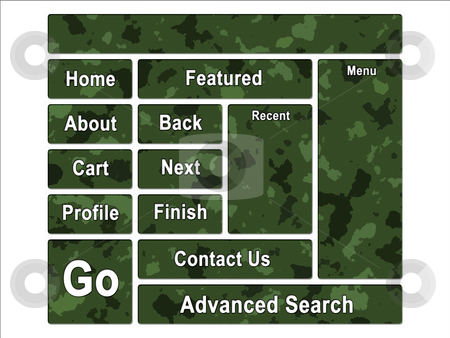 Green Jungle Army Camouflage Website Navigation User Interface B stock photo, Green Jungle Army Camouflage Website Navigation User Interface Buttons by Robert Davies