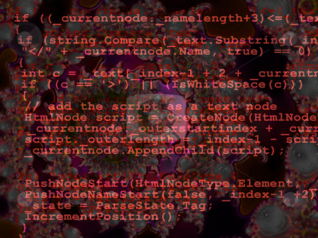 Red Programming Code Source Design on Fractal Background stock photo, Red Programming Code Source Design on Dark Fractal Background by Robert Davies