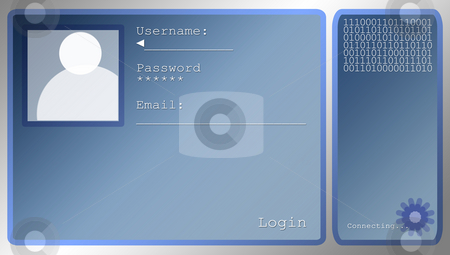 Blue Login Screen Layout With Portrait Box stock photo, Medium Sized Blue Login Screen Layout With Portrait Box by Robert Davies