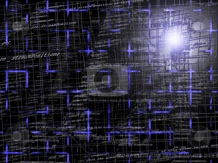 Blue Abstract Programming Code Background Pattern With Grid stock photo, Abstract Programming Code Background Pattern With Grid by Robert Davies