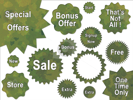Green Jungle British DPM Style Military Camouflage Effect Button stock photo, Green Jungle British DPM Style Military Camouflage Effect Buttons Badges and Bonus Sales Stickers by Robert Davies