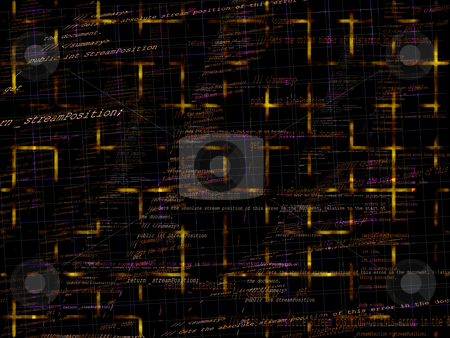 Royalty Free Photo of Orange and Yellow Programming Code Background texture
