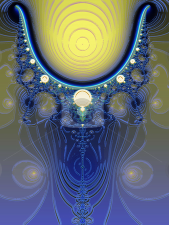 Glowing Blue and Yellow Fractal Design stock photo, Glowing Blue and Yellow Fractal Design with Lighting Effects by Robert Davies