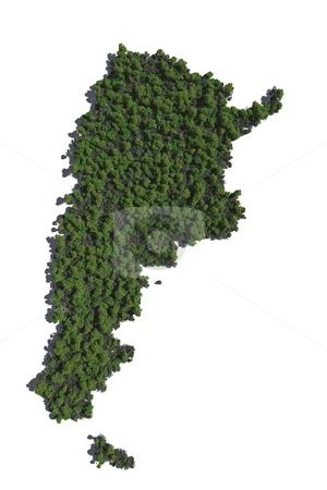Argentina in Trees stock photo, The shape of Argentina grown in trees. by Allan Tooley