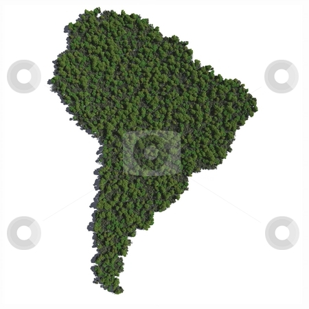South America in Trees stock photo, The shape of South America grown in trees. by Allan Tooley