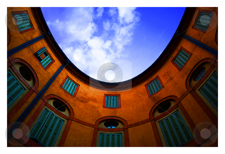Oval Courtyard stock photo, A perfectly oval courtyard in Ferrara. by James Rose