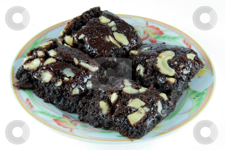 Brownies 2 stock photo, Four chocolate brownie fudge  served on a plate by Jonas Marcos San Luis