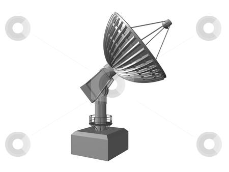Satellite dish  stock photo, White Satellite dish on white background 3.  3D image by John Teeter