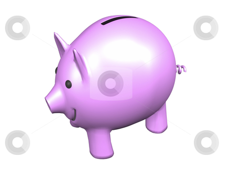 Pink Piggy Bank on white  stock photo, Pink Piggy Bank on White background by John Teeter
