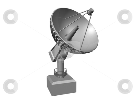 Satellite dish stock photo, White Satellite dish on white background 1.  3D image by John Teeter