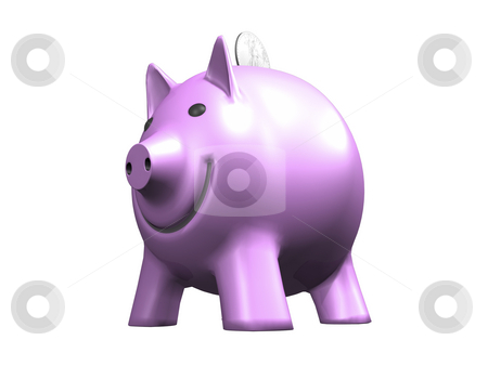 Pink Piggy Bank on White stock photo, Pink Piggy Bank on White Background. 3D image. by John Teeter