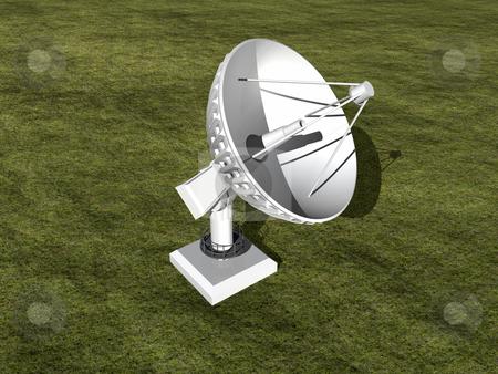Satellite dish  stock photo, White satellite dish in grass 3D image by John Teeter