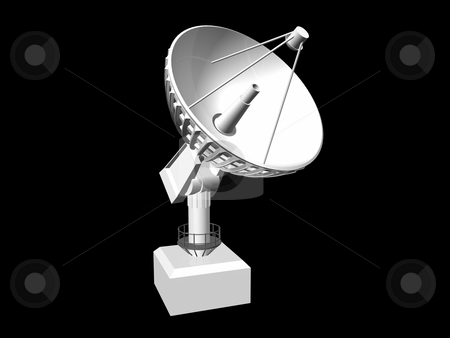 Satellite Dish stock photo, White satellite dish on black background 1. 3D image. by John Teeter