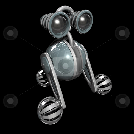 Robot stock photo, 3D robot 2 on black background with reflection by John Teeter