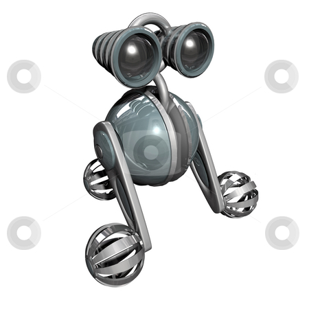 Robot stock photo, 3D Robot on white background with reflection 2 by John Teeter