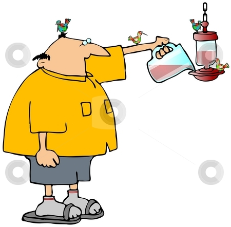 Hummingbird Feeder stock photo, This illustration depicts a man filling a hummingbird feeder. by Dennis Cox