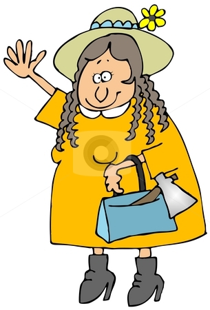 Lizzie B stock photo, This illustration depicts a girl with an axe in her purse. by Dennis Cox