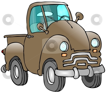 Old Truck stock photo, This illustration depicts an old brown pickup truck. by Dennis Cox