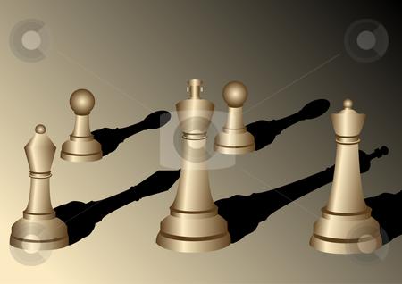 Chess pieces illustration stock vector clipart, Chess pieces with shadows vector illustration by John Teeter
