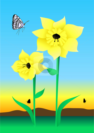 Daffodil Illustration stock photo, Daffodil with Butterfly Illustration by John Teeter