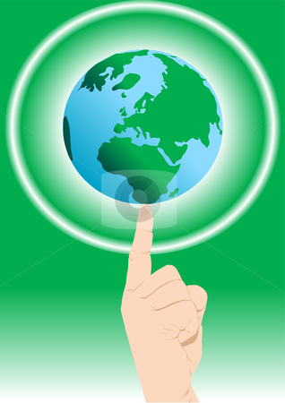 Finger Balancing World stock vector clipart, Finger balancing world vector illustration by John Teeter