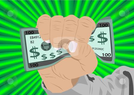 Fist full of Cash Illustration stock vector clipart, Fist full of cash vector Illustration by John Teeter