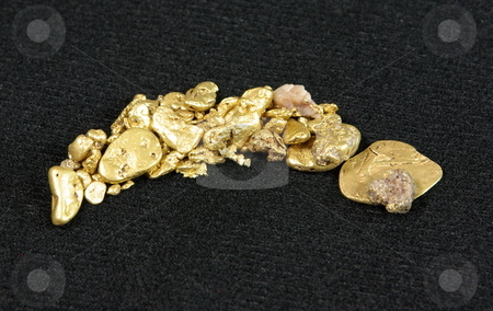 Gold Nuggets On Dark Background stock photo, Many large gold nuggets spread across a dark background. by Lynn Bendickson