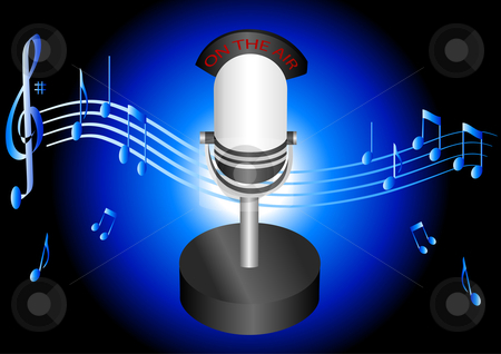 Table Top Microphone Illustration stock vector clipart, Table Top Microphone Illustration by John Teeter