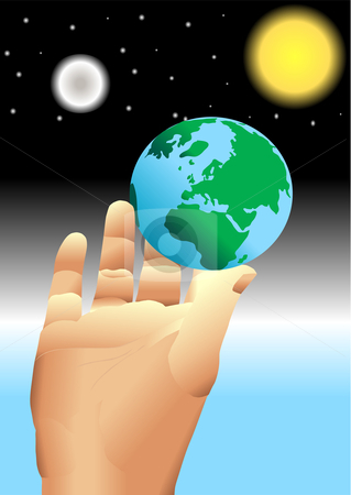 Hand holding earth in universe vector stock vector clipart, Hand holding earth Vector Illustration by John Teeter