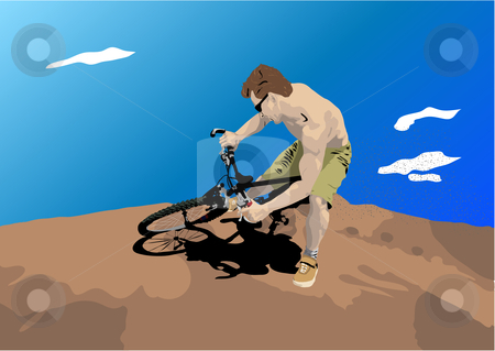 Man on bicycle Illustration stock vector clipart, Man on bicycle vector illustration by John Teeter