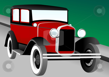 Antique car illustration stock vector clipart, Antique Car Vector Illustration by John Teeter