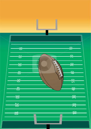 Football with Field Illustration stock vector clipart, Football with Field Vector Illustration by John Teeter