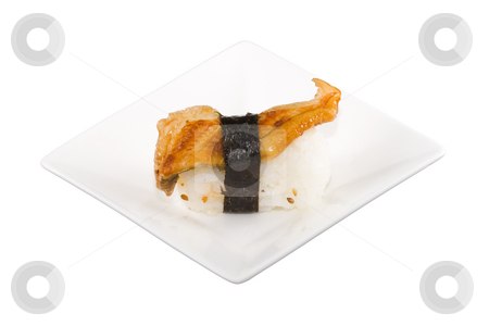 Eel Sushi stock photo, A square white plate with a piece of sushi by Petr Koudelka
