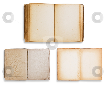 Assorted old books on white stock photo, Assorted old books isolated on white background with clipping path. by Pablo Caridad