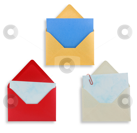 Assorted open envelopes isolated, path provided. stock photo, Assorted open envelopes isolated on white background, path provided. by Pablo Caridad