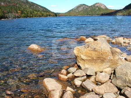 Echo Lake at Acadia National Park, Maine stock photo, Echo Lake is nestled in the mountains of Maine's Acadia National Park on Mount Desert Isle.   Well maintained roads allow park visitors easy access to the park's scenic beauty. by Dennis Thomsen
