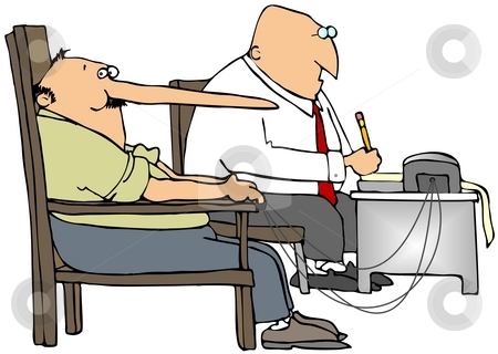 Lie Detector stock photo, This illustration depicts a man with a long nose connected to a polygraph machine. by Dennis Cox