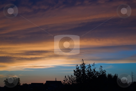 Morning Sunrise stock photo, Morning Sunrise in Eastern sky of church by Ron Johnson