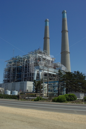 Electric Generating Plant stock photo, A electrical generation plant with 2 large steam stacks creates power for the local community by Lynn Bendickson