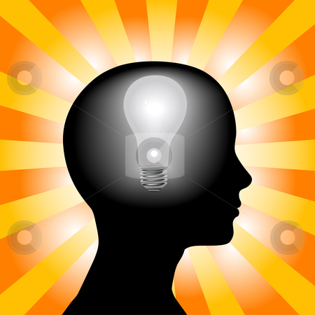 Idea Woman Mind Lightbulb in Silhouette Head on Rays Background stock vector clipart, A light bulb shines in the head of a thinking woman, concept of a bright idea, invention, inspiration, mind by Michael Brown