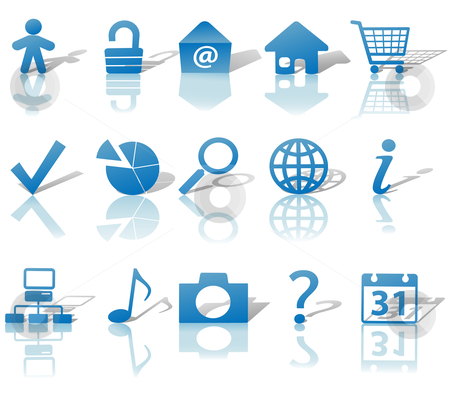 Web Blue Icons Set Shadows  stock vector clipart, Blue Icon Symbol Set: Globe Security Question Email People, etc. On white with shadows by Michael Brown