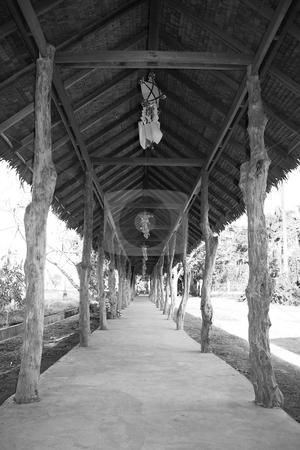 Walkway in black  stock photo, Walkway with lanterns in black by Jonas Marcos San Luis
