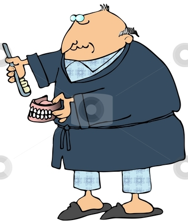 Man Brushing His False Teeth stock photo, This illustration depicts a man in a robe and pajamas brushing his false teeth. by Dennis Cox