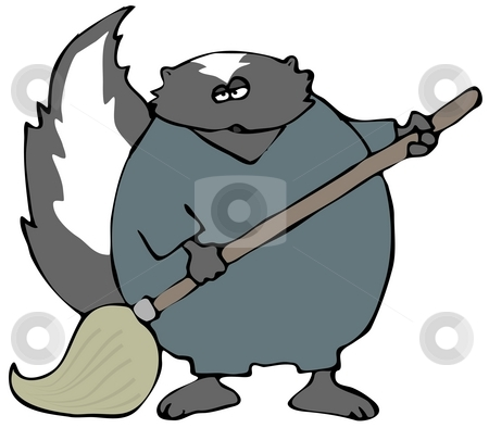 Skunk With A Mop stock photo, This illustration depicts a skunk wearing coveralls and using a mop. by Dennis Cox