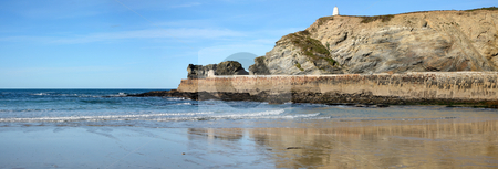 Panoramic view of Portreath pier and the Pepper Pot in Cornwall, UK. stock photo, Panoramic view of Portreath pier and the Pepper Pot in Cornwall, UK. by Stephen Rees
