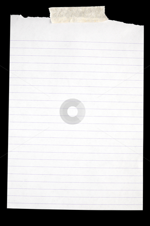 Old torn white lined paper stuck to a black background. stock photo, Old torn white lined paper stuck to a black background. by Stephen Rees