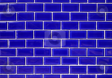 Blue ceramic wall tiles background. stock photo, Blue ceramic wall tiles background. by Stephen Rees