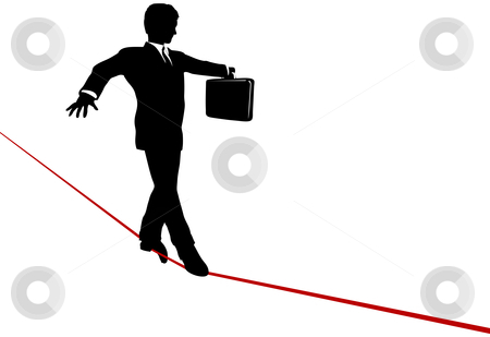 Business Man Balance Act on Risk Tightrope stock vector clipart, A business man walks a high wire tightrope, above risk and danger, the businessman balances with a briefcase. by Michael Brown