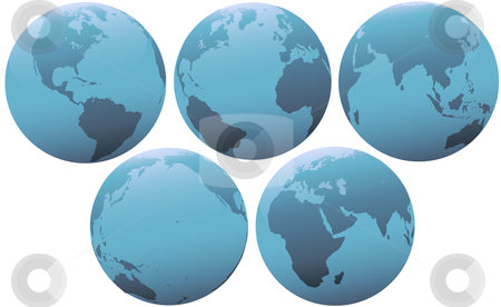 Five Planet Earth Globes in Soft Blue Light stock vector clipart, Set of blue globes of planet Earth, in soft light. Group of 5 views of Europe, Asia, Pacific, Americas Western Hemisphere. by Michael Brown